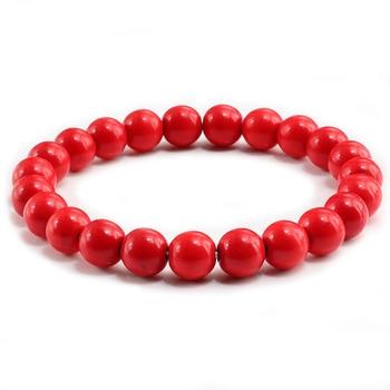 High Quality Blue White Green Red Natural Turquoises Stone Bracelet Homme Femme Charms 8MM Men Strand Beads Yoga Bracelets Women 3