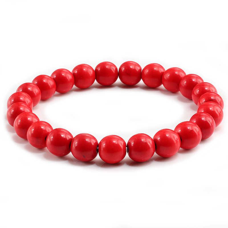 Wysokiej jakości niebieski biały zielony czerwony naturalny turkusowy kamień bransoletka Homme Femme Charms 8MM mężczyzn korale bransoletki jogi kobiet