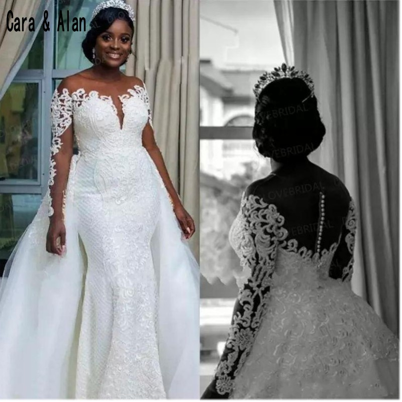 South African Wedding Dresses Detachable Overskirt Sheer Neck Off Shoulder Long Sleeves 2019 Vestidos Mermaid Bridal Gowns