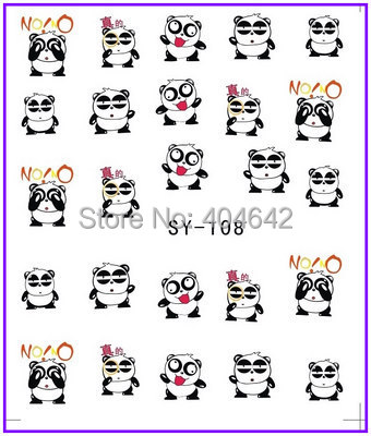1X  Nail Sticker Panda Water Transfers Stickers Nail Decals Stickers Water Decal Opp Sleeve Packing #108