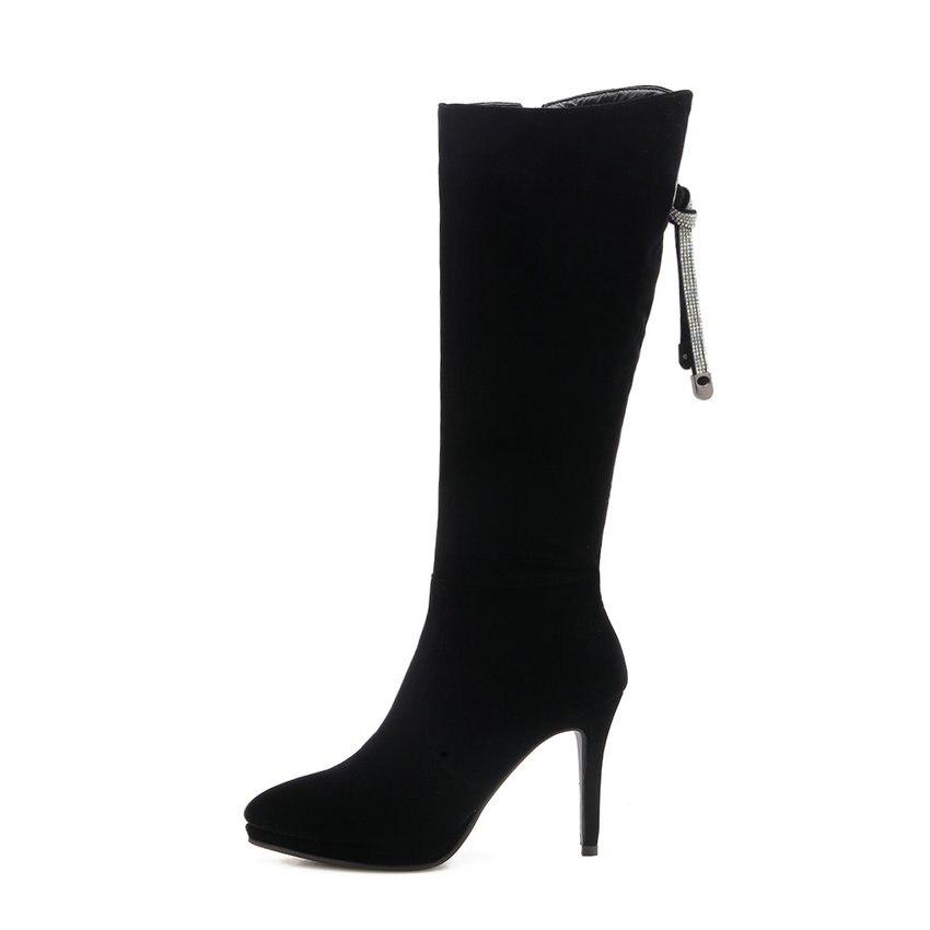 Esveva Bottes Pointu Hauteur Cristal 2019 Talons Mince Hiver Noir Chaussures Femmes 43 À Élégant Zip Femme Du Haute Bout forme 34 Genou Plate xrWCBedEQo