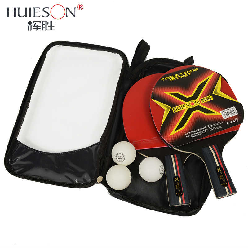 Huieson 3 Star Table Tennis Rackets Set 7 Ply Wood Blade Double Face Pimples-in Rubber for Children Teenagers New Learners