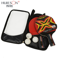 Huieson 3 Star Table Tennis Rackets Set 7 Ply Wood Blade Double Face Pimples In Rubber