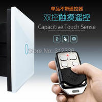 free shipping 1 gang 2 way 1PC Switch+1PC Remote Control Double way switch Glass touch switch panel control tempering
