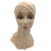 Full Cover Inner Hijab Cap Muslim crossover Turban Hat For Women Islam Underscarf Bonnet Solid Modal Neck Head Under Scarf Hats исламский сувенир muslim hui muslim islam moslem women hats scarf supplies yarn bonnet buy discount 65