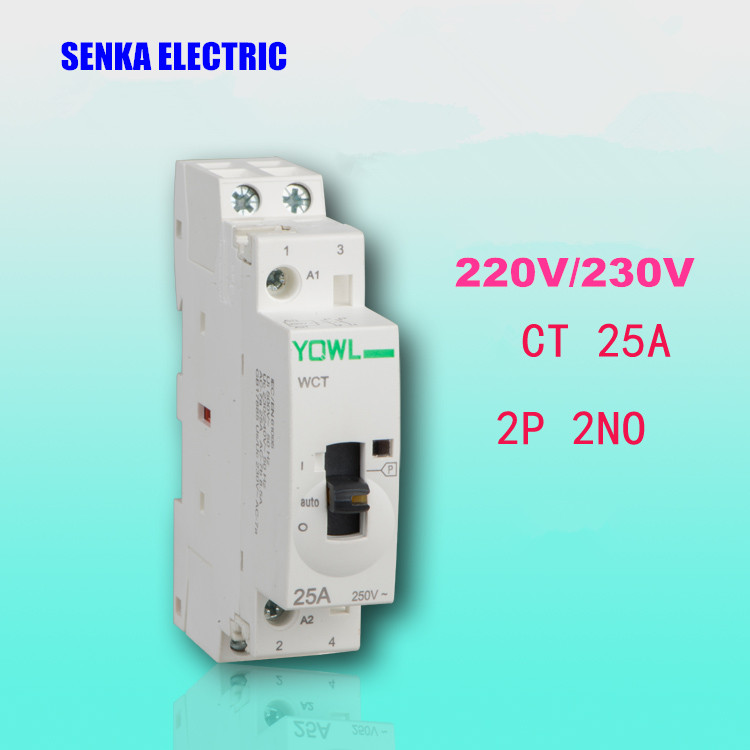 2P <font><b>25A</b></font> 2NO <font><b>220V</b></font>/230V 50/60HZ Household 35mm Din rail Modular Manual Control AC Contactor CT1 image
