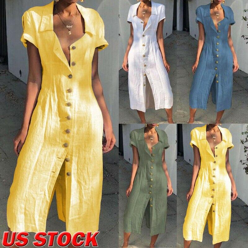 Hot Women Summer Dress Short Sleeve V-Neck Solid Cotton Casual Ladies Lapel Button Party Evening Beach Dresses Maxi Sundress