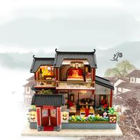 Doll House Chinese Style Hotel Miniature Dollhouse Assemble Kit Toy Wooden Retro Shop Furniture House Toys For Children No Cover