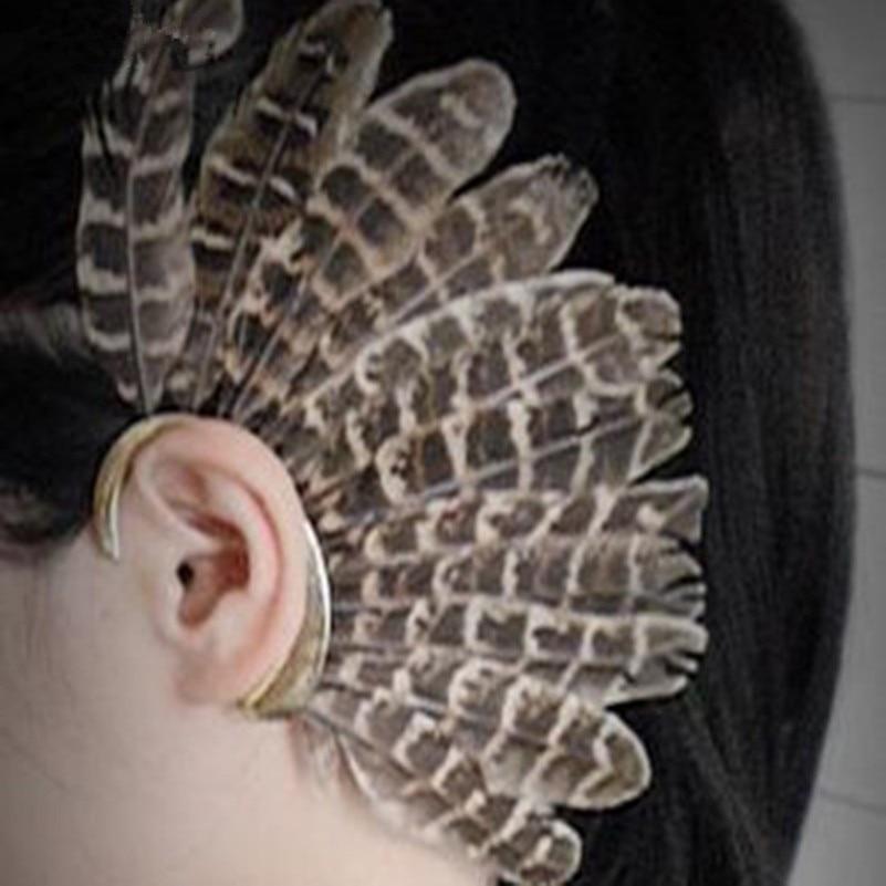 Muoti iso sulka leopardi korvakoru kulta clip korvakorut naisille - Muotikorut - Valokuva 6