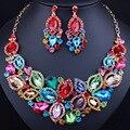 Crystal Rhinestone Floral de La Boda Nupcial Aretes Collar de Conjuntos de Joyas de Oro para Las Mujeres de Regalo de Navidad