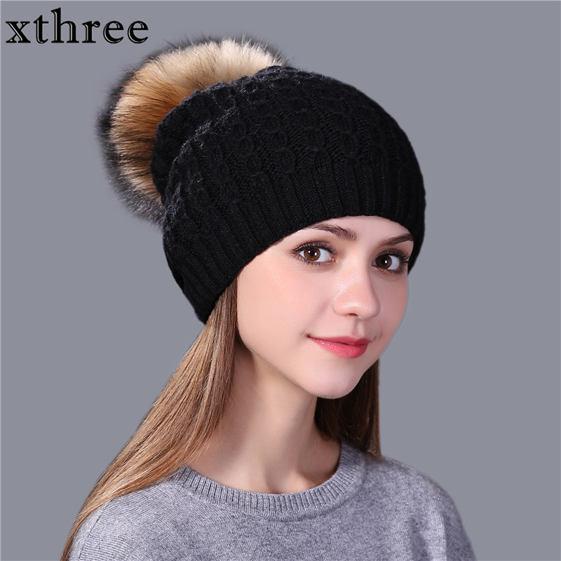 [Xthree] النساء الشتاء محبوك قبعة قبعة لفتاة الأطفال الصوف قبعة المنك الفراء الحقيقي بوم بومس جديد سميكة الإناث قبعة