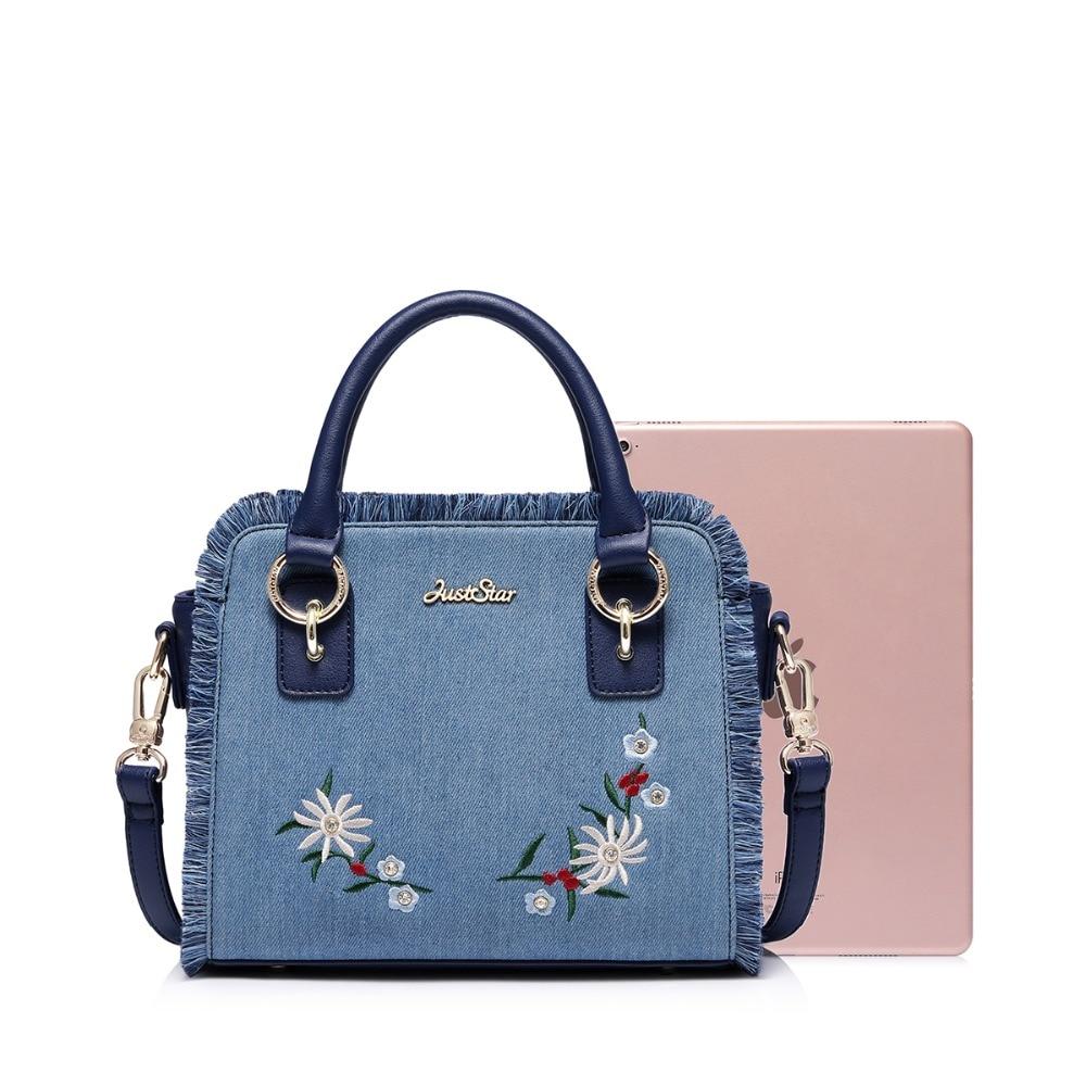 JUST STAR Women s Denim Handbags Ladies Vintage Embroidery Flower Shoulder Purse  Female Leather Tassel Wings Messenger Bags fbd5e7180