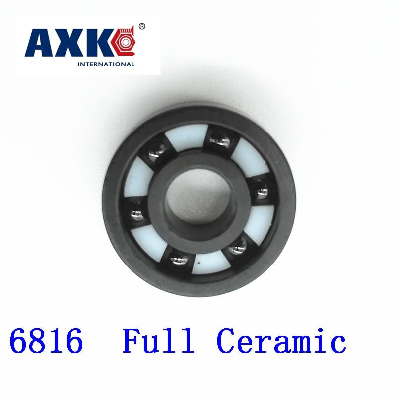 Axk 6816 Full Ceramic Si3n4 80x100x10 61816 80mm/100mm/10mm Si3n4 Ceramic Ball Bearing free shipping 6806 full si3n4 p5 abec5 ceramic deep groove ball bearing 30x42x7mm 61806 full complement