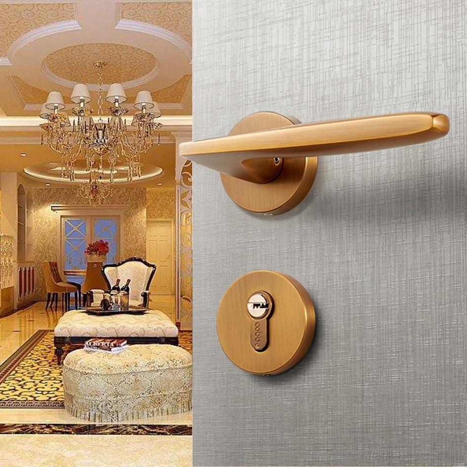 Bronze jaune alliage de Zinc porte Look poignée intérieur chambre porte serrure Split silencieux porte serrure matériel de porte