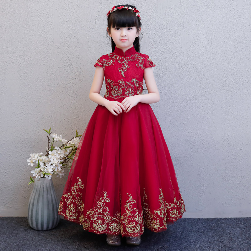 Girls Summer Flowers Lace Wedding Birthday Pageant Party Princess Dresses Kids Formal Prom Gowns Size 3-15years Host Dance dress 2017 summer flower lace girls wedding pageant party dresses princess formal prom gowns size 3 8 year new kid girl clothes