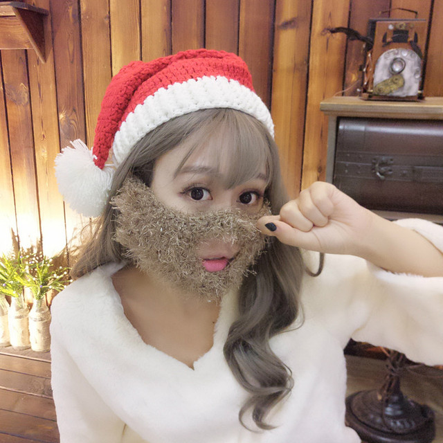 New Winter Crocheted Man Woman Santa Father Christmas Hat with Colorful  Beard Handmade Christmas Gift Party Skull Beanies f53ac6b63ae
