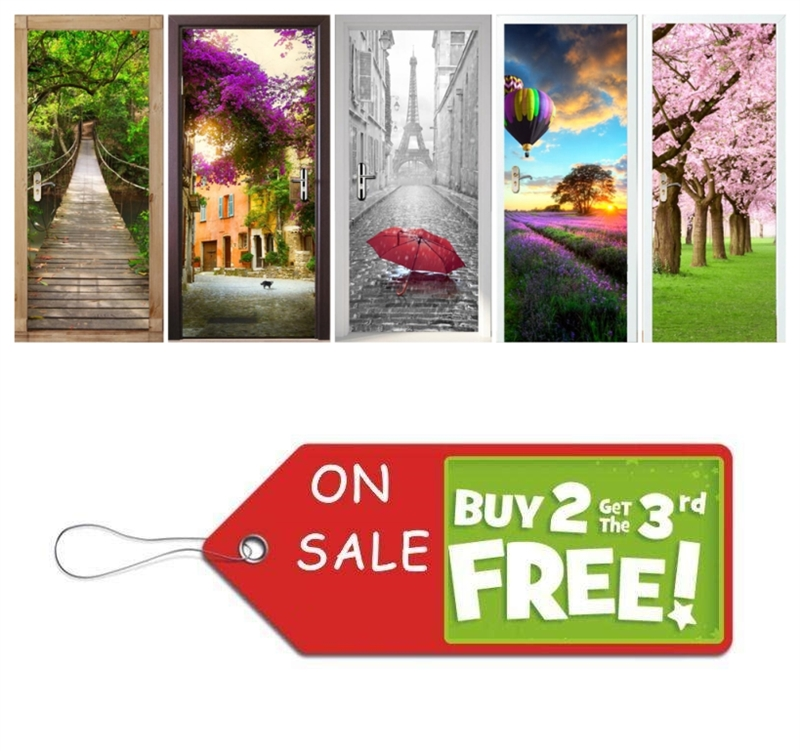 Home Creative DIY Senery Door Stickers Telephone Booth Door Murals Decoration Large Sakura Saloon Wall Sticker Poster