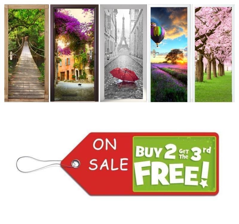 Vivid Maison BRICOLAGE Créatif 3D Senery Porte Autocollants Cabine Téléphonique Muraux Porte Décoration Grand Sakura Salon Wall Sticker Affiche