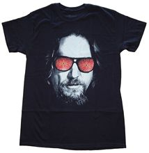 Hybrid The Big Lebowski Dude Rug Glasses Mens Black T-Shirt summer o neck tee,free shipping cheap tee,Hip Hop Tee Shirt