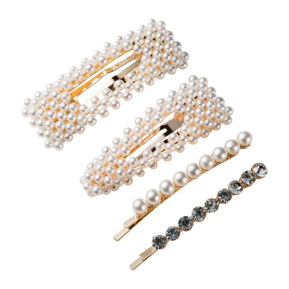 4pcs/Set Barrettes Rhinestone Pearl Women Trendy Hairpins for Simulated Hair-Jewelry