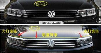 Yimaautotrims frente capó del motor tira + frontal luces de la lámpara del párpado ceja recorte cubierta para Volkswagen Passat B8 2016, 2017 2018