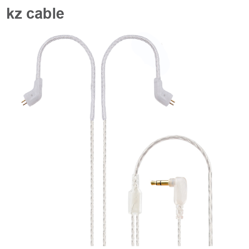 Silver Upgrade earphones cable for KZ ZST kz ed12 Detacable Audio Cord 3 5mm 3 pole