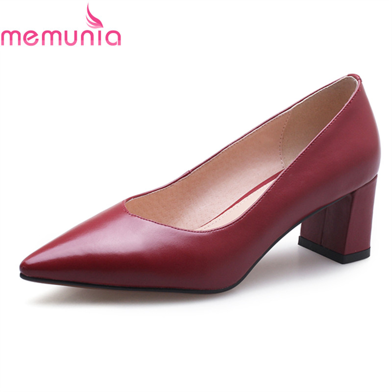 MEMUNIA new arrival sexy pointed toe solid wedding shoes bride thick high heels genuine leather spring autumn women pumps siketu 2017 free shipping spring and autumn high heels shoes fashion women shoes wedding shoes thick sandalsl pumps g042