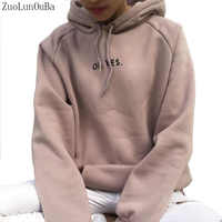 ZuoLunOuBa Autumn Winter Fashion Women Fleece Thickening Long sleeve Sweater Letter Oh Yes Harajuku Loose Pullover Size S-XXL