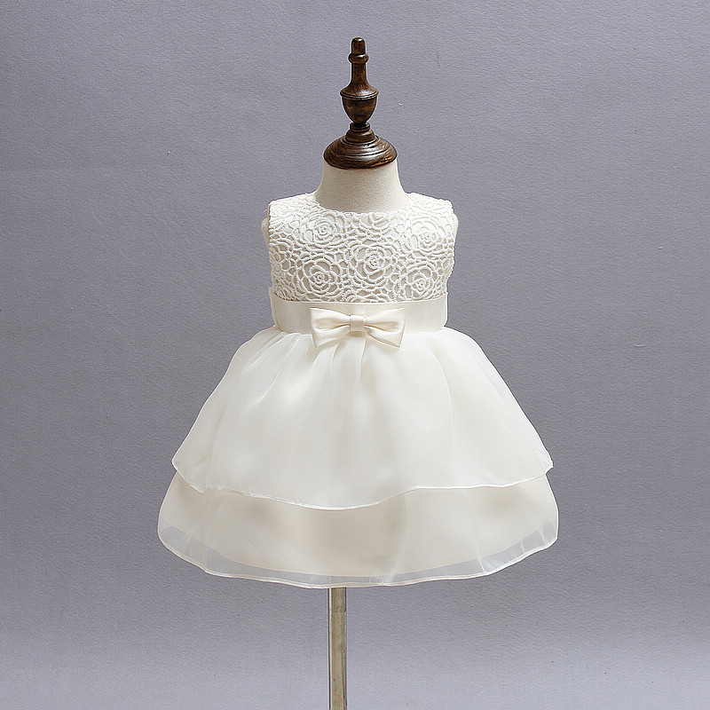 Newborn Girl Dress Beautiful Christening Gown White First Birthday Party Baby Chiffon Clothing Tutu Tulle Toddler Girl Clothes
