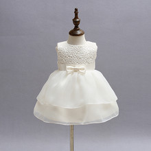 Newborn Girl Dress Beautiful Christening Gown White First Birthday Party Baby Chiffon Clothing Tutu Tulle Toddler Girl Clothes(China)
