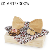 Novelty Fashion Bow Ties for Men Women Best Quality Classic Wood Bowtie 3D Handmade Brooch Butterfly Wood Bow Tie Gravata Set
