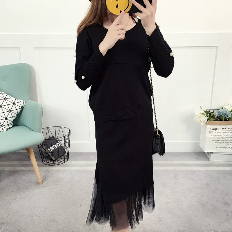 Korean version of the knit top mesh gauze stitching sweet out breastfeeding suit suit dress out feeding thai tide brand cape style fairy layer tassel stitching slim dress hollow out mesh lace stitching fringed champagne dress white