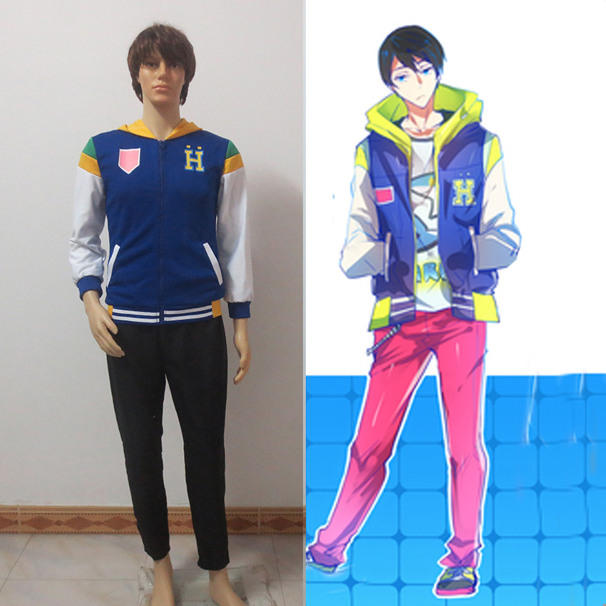 Anime Free Iwatobi Swim Club Haruka Nanase Cosplay Costume Hooded Hoodie Sport Jacket Coat And Pants