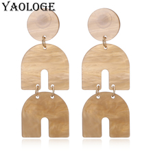 YAOLOGE Multi-layer Acrylic Earring Round Semicircle Pendant Earrings Geometry Wedding Jewelry For Women Fashion Accessories New