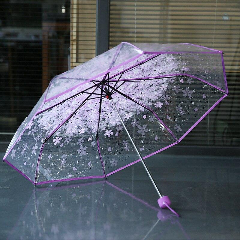 8 karat 3 falten sonnenschutz regen regenschirme qualität regen werkzeuge frau blumen transparente regenschirm für weibliche und männliche