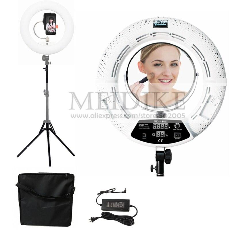 Yidoblo Warm & white color FD-480II Pro Beleza Maquiagem Lâmpada Estúdio LEVOU Anel lâmpada 480 LEDS Luz De Vídeo de Iluminação + stand (2 M) + saco