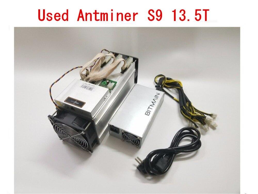 Usado AntMiner S9 13.5T Com fonte de Alimentação BCH BTC Bitcoin Mineiro Asic Miner Better Than WhatsMiner M3 M10 T9 + o ebit E9 Avalon 841