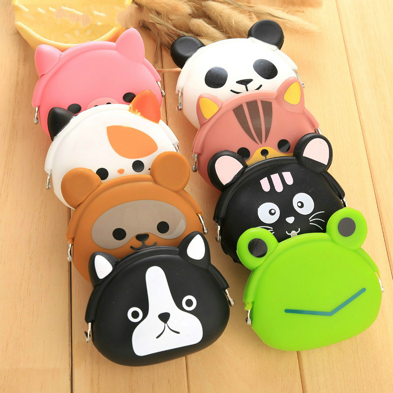 Lovely Kawaii Coin Purse Candy Color Cartoon Animal Cute Women Girls Wallet Multicolor Jelly Silicone Coin Bag Purse Kid Gift