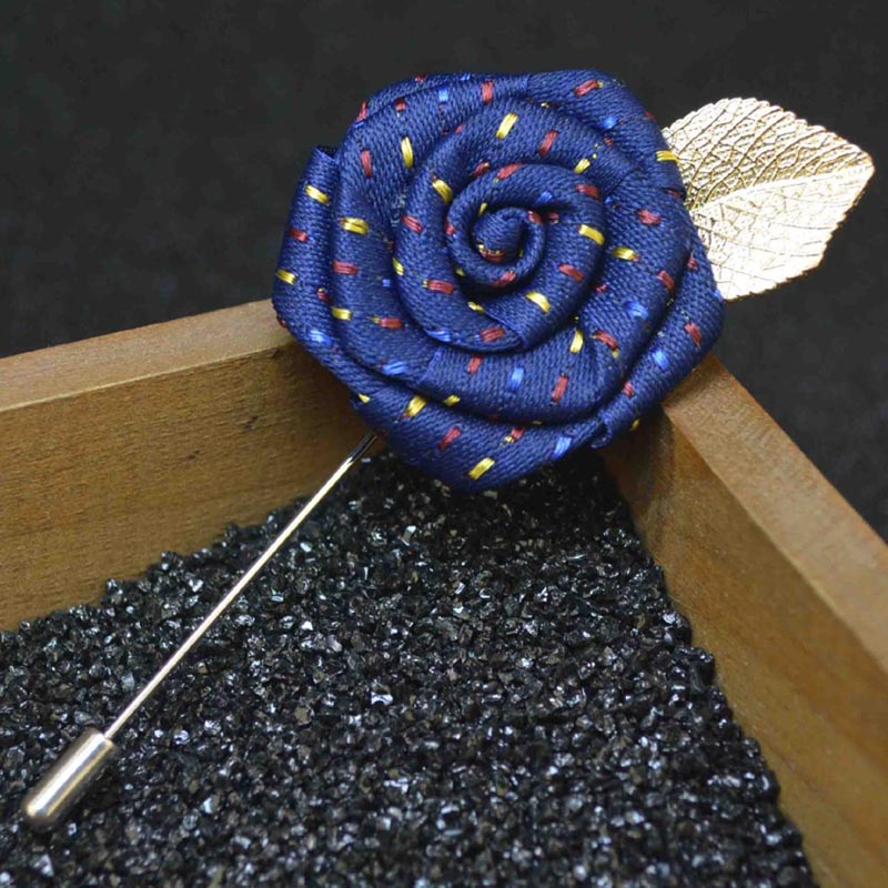 UALGL font b Fashion b font Handmade Fabric Lapel Pins Flower Brooches For Men Wedding Suit