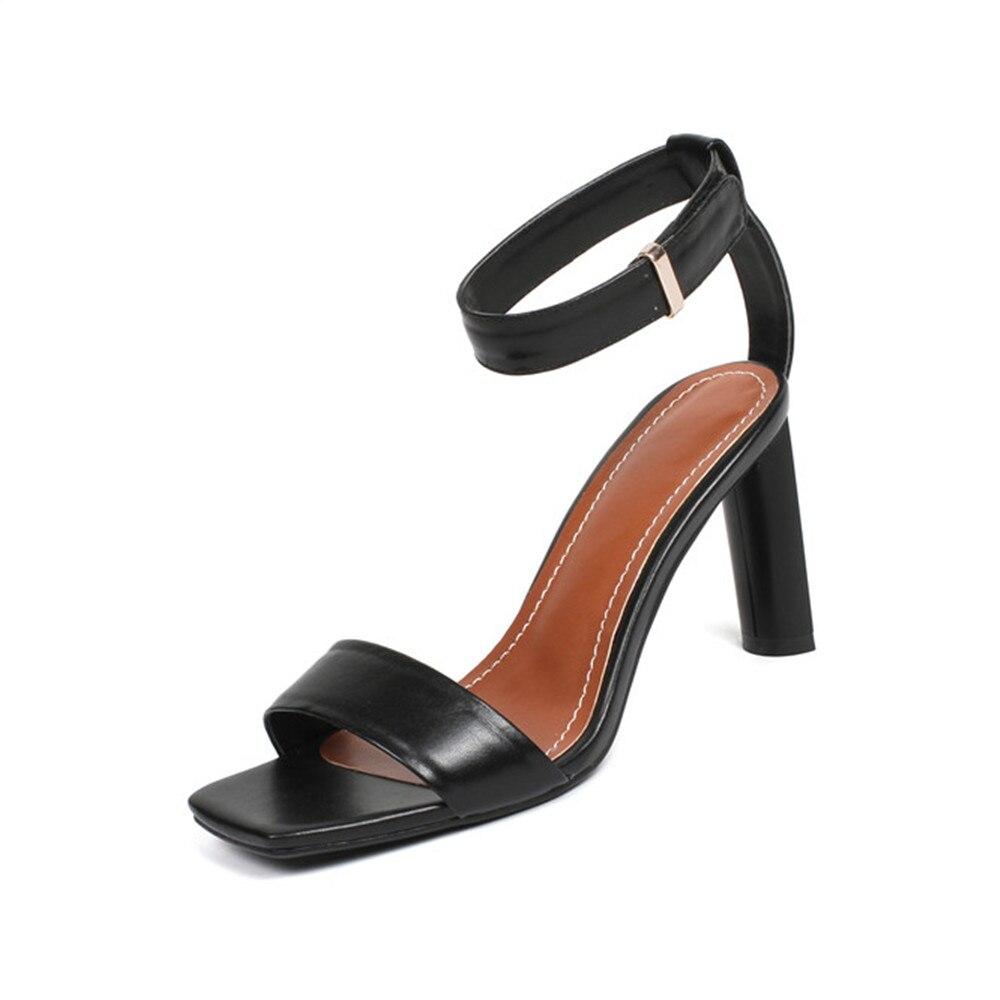 Smirnova 2018 جديد وصول الصيف الترفيه أزياء النساء الصنادل جلد طبيعي بلون الكاحل حزام عالية الجودة أحذية امرأة-في كعب عالي من أحذية على  مجموعة 3