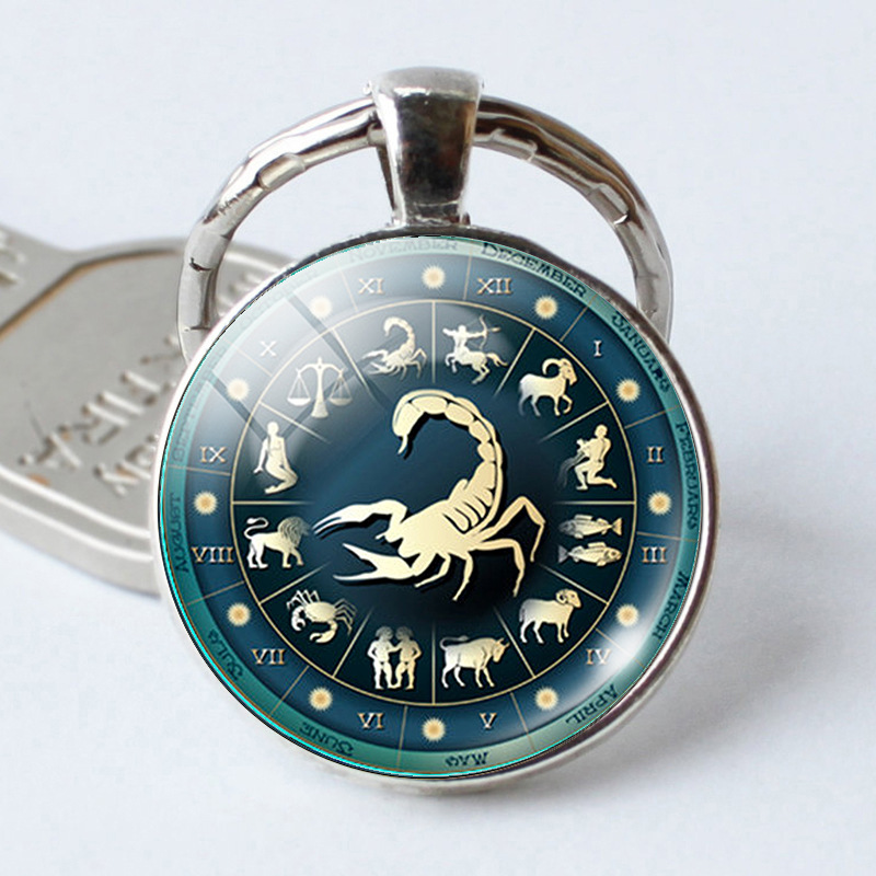 Time 12 Constellation Jewelry Key Chains Zodiac Signs Keychain Key Rings Bag Car Round Glass Cabochon Pendant Man Woman Gift
