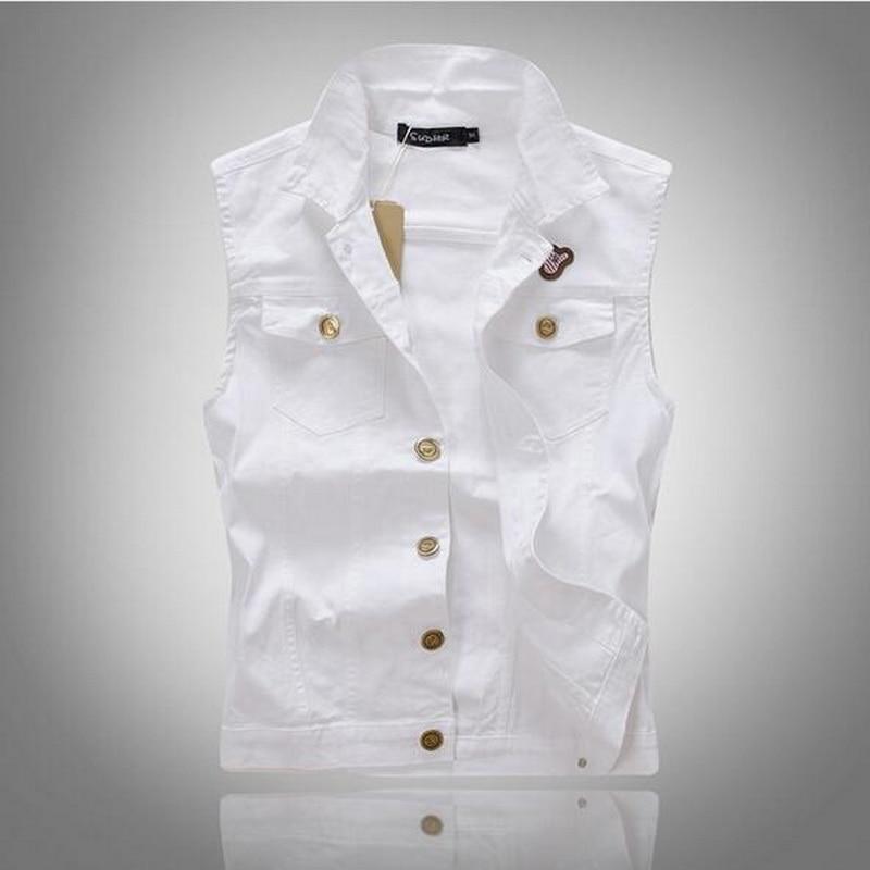 2016 Neue Marke Weste Männer Denim Weste Vintage Sleeveless Gewaschen Jeans Weste Mann Cowboy Zerrissene Jacke Tank Top Weiß