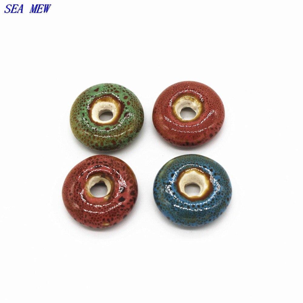 Ceramic Bead Beads: 20.5mm*7mm Round Glaze Ceramic Bead 5mm Hole Beads