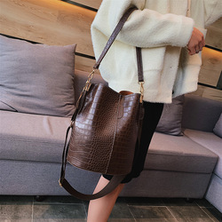 Alligator Handbags Women Big Capacity Pu Leather Messenger Shoulder Bags Women Bucket Casual Solid Crocodile Woman Handbag Purse