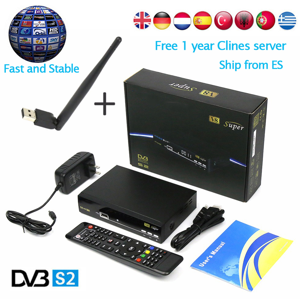 [Genuine]original V8 Super DVB-S2 Satellite Receiver Decoder Full 1080P+ V8 USB WIFI +1 Year Europe 7 Clines Spain Italy Germany genuine 2 boxes tien nutrient super calcium tien s super calcium