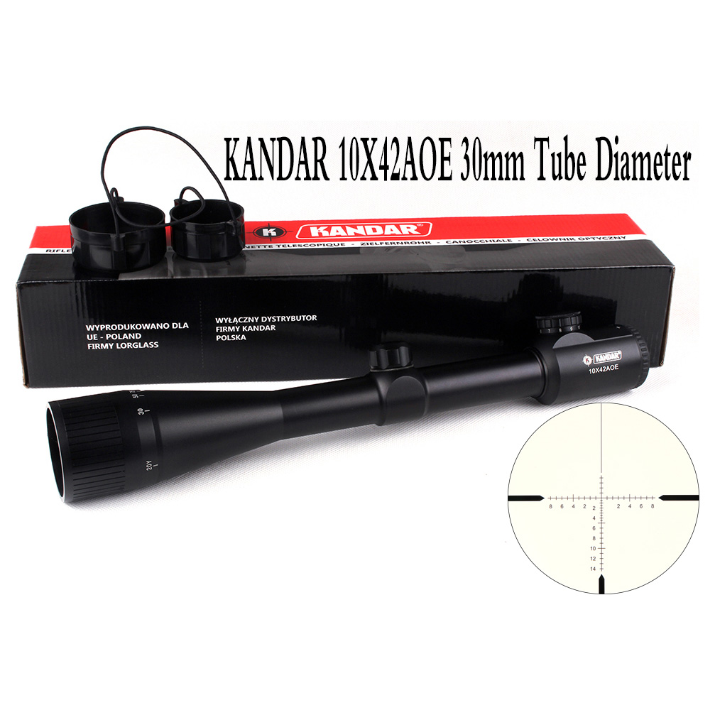 Tactical Optical Sight KANDAR 10x42 AOE Glass Reticle RifleScope Hunting Rifle Scope 1 4x24 r12 r29 glass reticle tactical riflescope red illuminate optical sight for hunting rifle scope