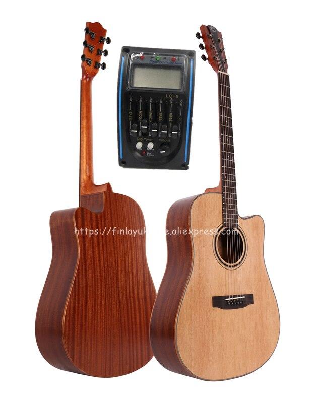 Finlay guitare coupe 41 pouces guitare acoustique guitare avec table en épicéa massif/corps en acajou + étui rigide, guitare chinoise FG-D82CE