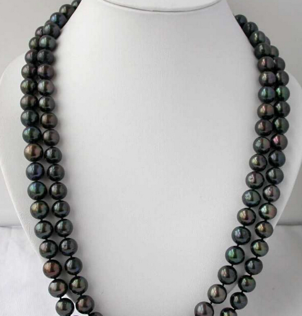 Free Shipping 0001316 LONG 50 11-12mm round Tahitian black freshwater pearl necklace