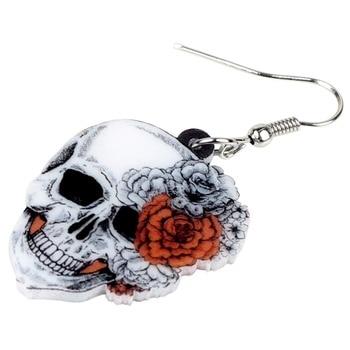 Bonsny Acrylic Halloween Rose Flower Skull Earrings Drop Dangle Big Long Fashion Punk Jewelry For Women Girls Ladies Accessories 1