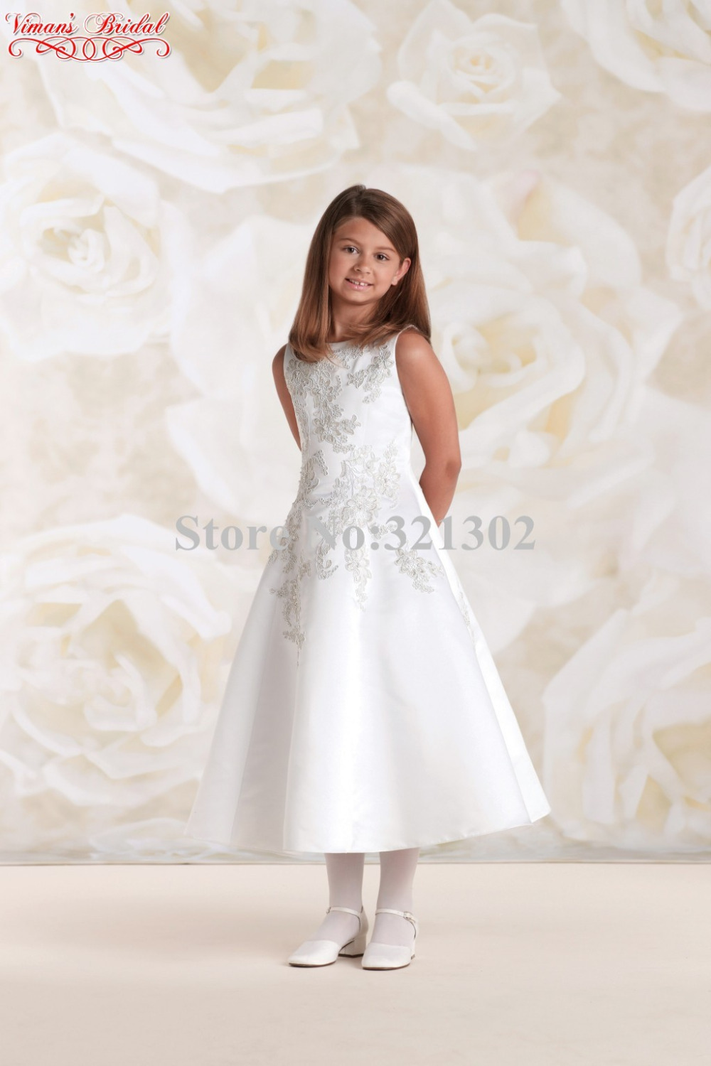 09 icdn.ru girls.com Aliexpress.com : Buy 2015 Elegant White Dress For Girls Appliques Lace  Scoop Mid Calf Ball Gown Kids Dresses For Weddings Free Shipping AK12 from  Reliable ...
